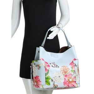 My Bag Lady Online Bags - Patent leather Butterfly Flower Pearl Tote Set
